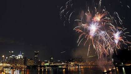 Fiery rainbow July 4 fireworks across the skyline of Pittsburgh last night.
