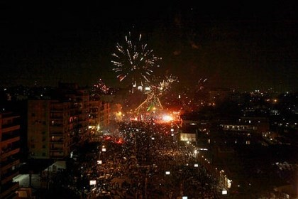 fireworks celebration egypt Fireworks light the sky moments after Egypt's military chief says the president is replaced by chief justice of constitutional court outside the presidential palace in Cairo.