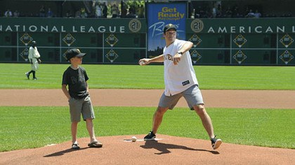 First pitch Bill Guerin throws out the ceremonial first pitch at the Pirates game yesterday at PNC Park.