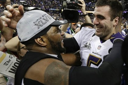 FlaccoLewis Baltimore Ravens linebacker Ray Lewis, left, and quarterback Joe Flacco celebrate their 34-31 win against the San Francisco 49ers in Super Bowl XLVII.