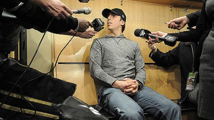 fleury Penguins goaltender Marc Andre Fleury talks to the media Tuesday.