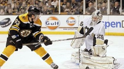 Fleury Marc-Andre Fleury makes one of his 28 saves on Boston's Brad Marchand in the Penguins' 2-1 win Saturday in Boston.