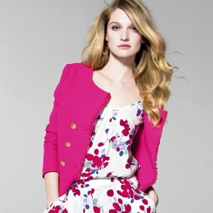 Floral outfit Floral top, $49.50; floral shorts, $79.50; and pink tweed jacket, $149, at United Colors of Benetton.