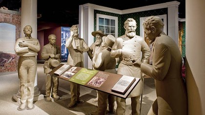 Ford's Theatre Museum Figures representing job seekers and visitors to the Lincoln White House, modeled after political cartoons from the 1860s.