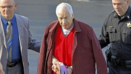Former Penn State University assistant football coach Jerry Sandusky Former Penn State University assistant football coach Jerry Sandusky, center, leaves the Centre County Courthouse after attending a post-sentence motion hearing Thursday in Bellefonte, Pa.