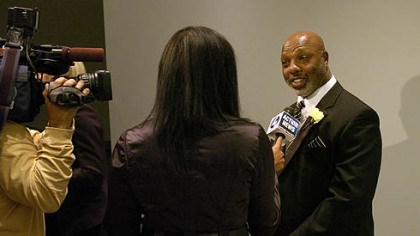 Former Steeler Donnie Shell Former Steeler Donnie Shell talks to the media at the Steelers 75th Season Gala at the David L. Lawrence Convention Center.