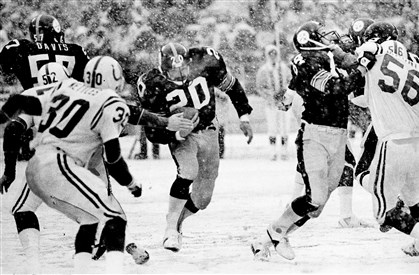 Former Steeler Rocky Bleier Getting a block from Randy Grossman, 84, Steelers Rocky Bleier charges through a hole for a good gain against Baltimore Colts, 1978.