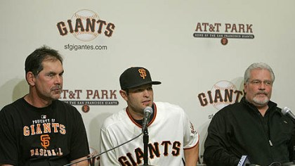 Freddy Sanchez New Giants infielder Freddy Sanchez sits between manager Bruce Bochy, left, and general manager Brian Sabean, right, during a news conference at AT&T Park in San Francisco yesterday. The Giants acquired Sanchez from the Pirates.