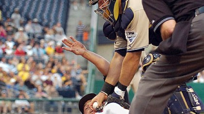 Freddy Sanchez Padres catcher Josh Bard tags out Freddy Sanchez in the third inning last night at PNC Park.