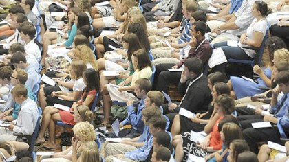 Freshmen Members of the second-largest freshman class in the history of Duquesne University attend their annual Matriculation Ceremony at the A.J. Palumbo center last week.