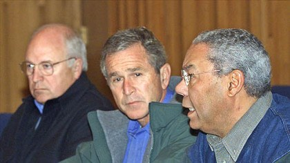 """Frontline: Bush's War"" President Bush, center, listens as Secretary of State Colin Powell, right, speaks during a meeting with his Cabinet and advisers to decide on appropriate measures to respond to the terrorist attacks in New York and Washington, in this Sept. 15, 2001, photo at Camp David, Md. At left is Vice President Dick Cheney. The response is a major part of a two-part ""Frontline"" documentary about President Bush, called ""Bush's War,"" which premieres on WQED tonight."