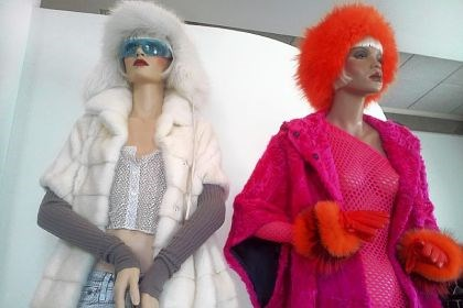 "Furs by Helen Yarmak Mannequins wear furs by Kiev-born fashion designer Helen Yarmak in her Fifth Avenue showroom at New York Fashion Week. Live models also pretended to be mannequins at the show, surprising the audience by ""coming to life."""
