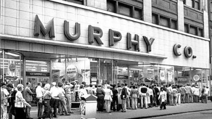 G.C. Murphy Co. store In 1979, the G.C. Murphy Co. store was still open in Downtown and selling tickets to throngs of Pirates fans hoping to attend the team's games against the Cincinnati Reds in the National League playoffs.