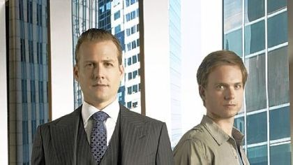 "Gabriel Macht and Patrick Adams Gabriel Macht, left, and Patrick Adams are lawyers in ""Suits."""