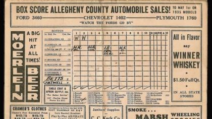 Game score card Scorecard noting the last three home runs hit by Babe Ruth.