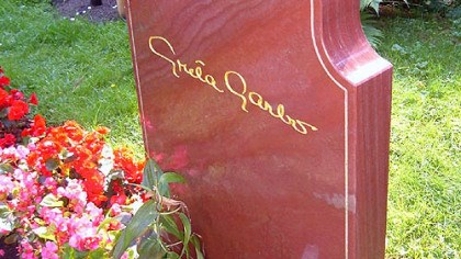 Garbo's grave Film icon Greta Garbo is buried at Skogskyrkogarden, a huge cemetery outside Stock-holm, Sweden.