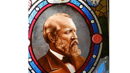 Garfield stained glass Stained glass window with image of President James Garfield, the 20th president, who was fatally wounded a few months after taking office.