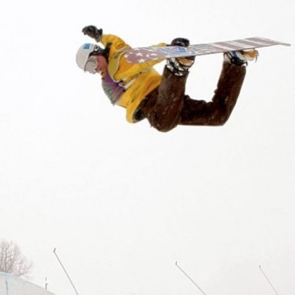 Genditzki Snowboarder Dan Genditzki of Bedford, Pa., practices in the halfpipe at Seven Springs Mountain Resort Friday in preparation for the U.S. Open Snowboarding Championships qualifiers this weekend. Genditzki is doing a method grab, a fundamental snowboarding trick where the rider grabs the board behind his back with his lead hand.