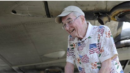 George Cahill World War II veteran George Cahill, 86, who was a bombardier during the war, stands in front of the B-17.