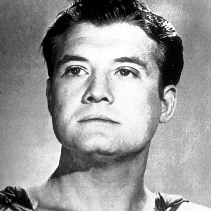 George Reeves Actor George Reeves, who portrayed Superman in the 1950s television series, wears his costume for the role in this undated photo.