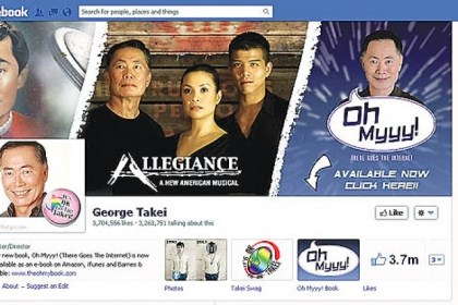 "george takei facebook Takei's Facebook page has more than 3,755,143 ""likes."""