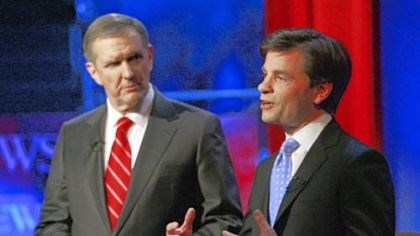 Gibson and Stephanopoulos The game plan followed by ABC News moderators Charles Gibson, left, and George Stephanopoulos at Wednesday night's debate came under fire from many quarters.
