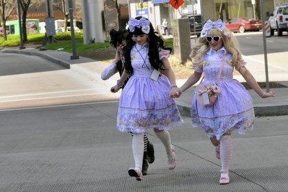 Girls dressed in Lolita outfits Girls dressed in Lolita outfits, Japanese street fashion, at Tekkoshocon last year.