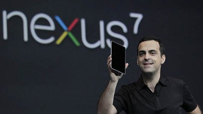 google tablet unveiled Hugo Barra, Director of Google Product Management, holds up the new Google Nexus7 tablet at the Google I/O conference in San Francisco today.