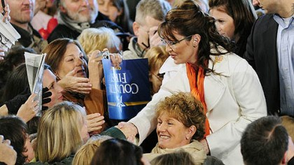 Gov. Sarah Palin in Latrobe Gov. Sarah Palin greets supporters after speaking Friday morning at Arnold Palmer Regional Airport in Latrobe, Westmoreland County.
