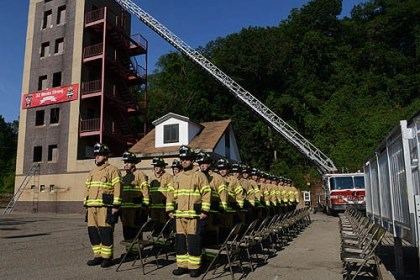 grads pittsburgh fire Twenty-seven City of Pittsburgh firefighting recruits graduate during a ceremony held at the Pittsburgh Fire Academy in Highland Park today.