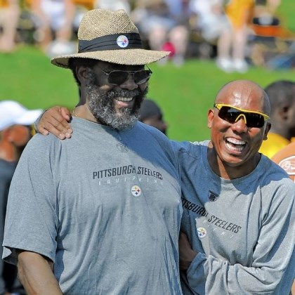 green hines Joe Greene and Hines Ward share a laugh at 2011 Steelers training camp in Latrobe.
