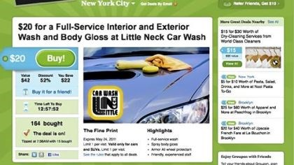 groupon.com In this screen shot from groupon.com, a coupon for a New York City carwash is displayed.