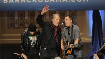 Grushecky and Springsteen Joe Grushecky joins Bruce Springsteen at a rally organized by Obama for America at Soldiers & Sailors, Oakland.