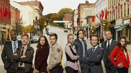 "'Happy Town' ABC's ""Happy Town"" stars, from left, Geoff Stults, Sam Neill, Lauren German, Steven Weber, Amy Acker, Sarah Gadon, Robert Wisdom, Jay Paulson and Ben Schnetzer."