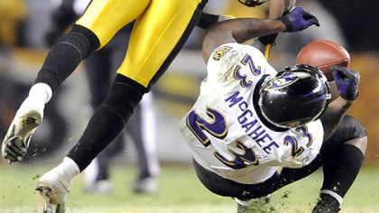 Hard play Ryan Clark hits Ravens running back Willis McGahee in the fourth quarter of the AFC championship game. McGahee was hospitalized after the play.