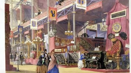 "'Hardware at the Great Exhibition' Joseph Nash's color lithograph ""Hardware at the Great Exhibition"" shows the 1851 world's fair in London."