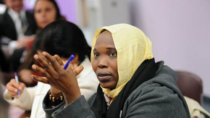 Hawa Abdallah Mohammed Salih Hawa Abdallah Mohammed Salih, a human rights activist from Sudan, asks a question during a talk and reception for International Women of Courage awardees at Gwen's Girls in Point Breeze.