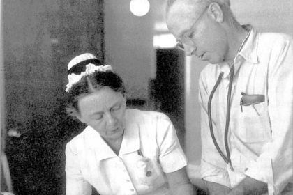 Head Nurse Walborg L. Paterson (Miss Pete) and Larry Mellon Head Nurse Walborg L. Paterson (Miss Pete) and Larry Mellon.