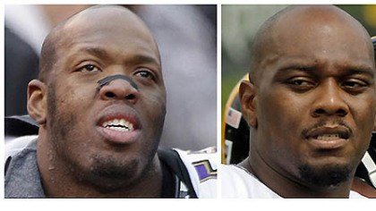 Head to Head Ravens DE Terrell Suggs (left)and Steelers RT Flozell Adams