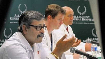Heart From left, Allegheny General Hospital doctors Srinivas Murali, Stephen Bailey and Raymond Benza talk to the media about the SynCardia temporary total artificial heart that was implanted in a 62-year-old Pittsburgh man on Feb. 17.