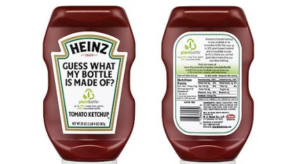 "Heinz ketchup bottle A promotional image for the new Heinz ketchup ""PlantBottle."""