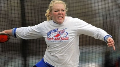 Hempfield track Hempfield's Rachel Fyalkowski prepares to launch a throw in the discus at the Tri-State Track Coaches Association Outdoor Track Championship.
