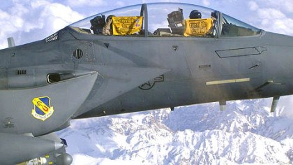 High Above Afghanistan Air Force F-15E Strike Eagle pilots attached to the 4th Fighter Wing display their Terrible Towels. The 4th Fighter Wing flies out of Seymour Johnson Air Force Base in Walnut Creek, N.C. The photograph was submitted by Bobby McGrath, instructional designer at the Naval War College, Newport, R.I.