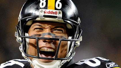 Hines Ward Steelers wide receiver Hines Ward laughs after taking a hit from a San Diego defender during a 2009 playoff game.