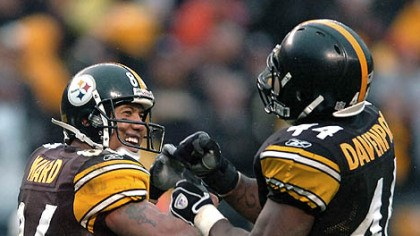 Hines Ward and Najeh Davenport Wide receiver Hines Ward celebrates his 12-yard-touchdown catch in the third quarter with running back Najeh Davenport. (vs. Browns 11/11/07)