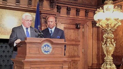 Hines Ward and Tom Corbett Recently retired Steelers great Hines Ward is recognized by Pennsylvania governor Tom Corbett and the legislature today in Harrisburg.