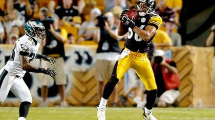Hines Ward in action Hines Ward has eight receptions for 66 yards this preseason. But he also received a broken nose in Sunday's 27-13 preseason victory against the Philadelphia Eagles at Heinz Field.