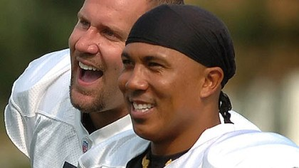 "Hines Ward Quote Hines Ward -- "" ... we all feel threatened once in our career, to a draft pick, or through what people say."""