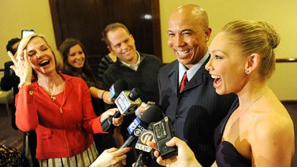 Hines Ward talks to media WTAE's Sally Wiggin shares a laugh with Hines Ward and Kym Johnson at the Art Rooney Awards April 7 at in Downtown Pittsburgh.