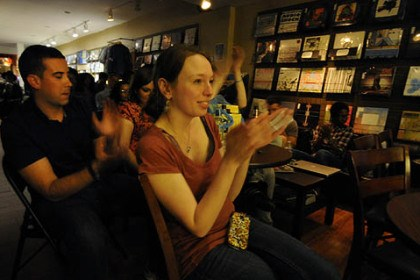 hiphop7 Patrons enjoy open mic night at 720 Records in Lawrenceville.
